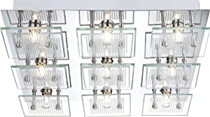 Ceiling light wall sconce glass striped ceiling lamp wall lamp chrome Globo 49201, Number of spotlights:9 Spot by Globo