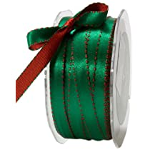 May Arts 3/8-Inch Wide Ribbon Red and Green Satin