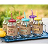 6 Piece Mason Jar Set With Sleeves and Reusable Straws - 24 Ozs