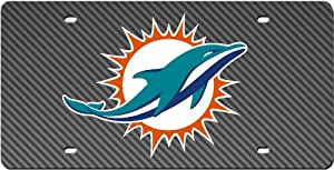 Miami Dolphins Inlaid Acrylic License Plate with Carbon Fiber Design by My Sports Shop