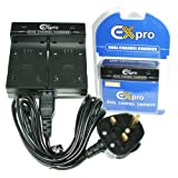 Ex-Pro® Canon NB-5L NB5L - Dual (Twin) Battery Fast Charge Digital Camera Charger for Canon Digital IXUS 90 IS, Digital IXUS 800 IS, IXUS 810 IS, IXUS 850 IS, IXUS 860 IS, IXUS 870 IS, IXUS 900 IS, IXUS 900 Ti, IXUS 910 IS, IXUS 950 IS, IXUS 960 IS, IXUS