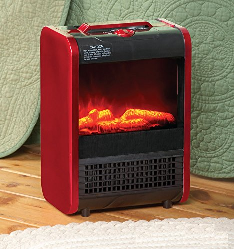 Red & Black Portable Ceramic Fireplace High Efficient Efficiency Electric Heater W/ Simulated Flames - Provides Heat That Keeps Rooms Up To 1,000 Sq. Feet Warm, Toasty, & Comfortable - Functional Accent Piece That Complements Any Decor