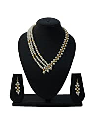 Nisa Pearls Golden Beaded Necklace Set With Pearls