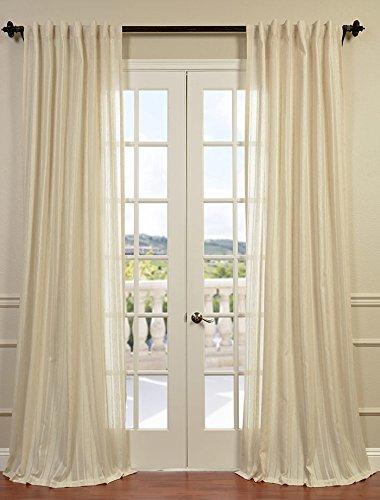 Half Price Drapes SHCH-HC66046-84 Striped Linen Sheer Curtain, Cayman Stone