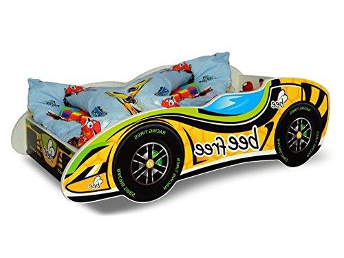 Lit voiture F1 jaune+sommier+matelas 140x70cm