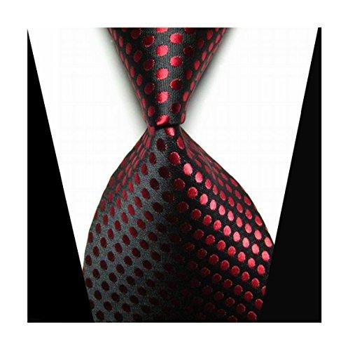 MENDENG Classic Polka Dot Jacquard Woven Silk Men's Tie Necktie
