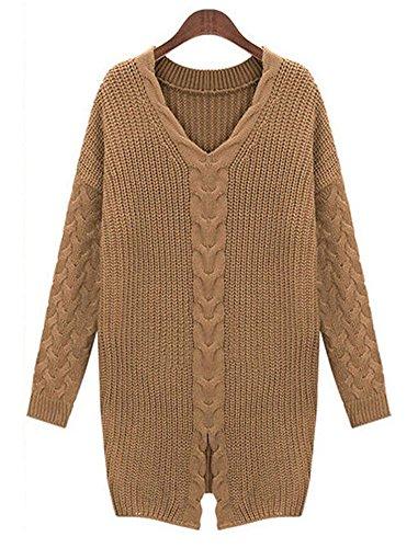 IDIFU Women's Unique Slit Long Sleeve V Neck Crochet Knit Sweater Top Camel Large