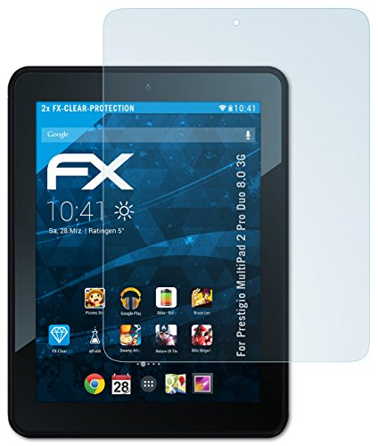 2 x atFoliX Prestigio MultiPad 2 Pro Duo 8.0 3G Schutzfolie Folie - FX-Clear kristallklar