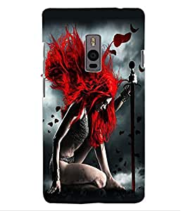 ColourCraft Warrior Girl Design Back Case Cover for OnePlus Two
