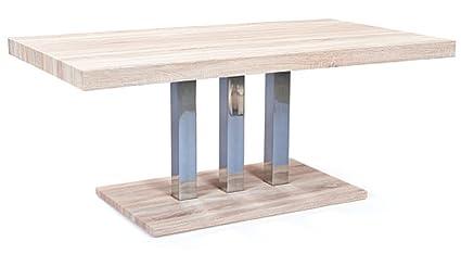 Table à manger rectangulaire 160 cm chêne/acier - Dim : 160 x 90 x 75 cm -PEGANE-