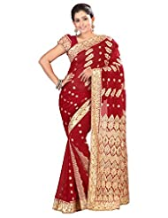 Designer Elite Red Colored Embroidered Faux Georgette Saree By Triveni