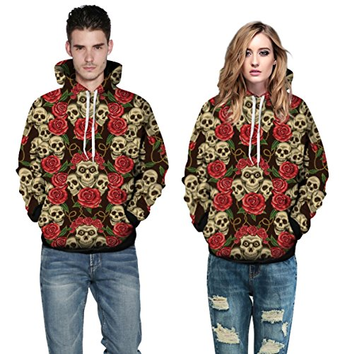 3D Skulls with Roses Design Unisex Hoodie Sweatshirts (L/XL) (Drake And Lil Wayne Shirt compare prices)