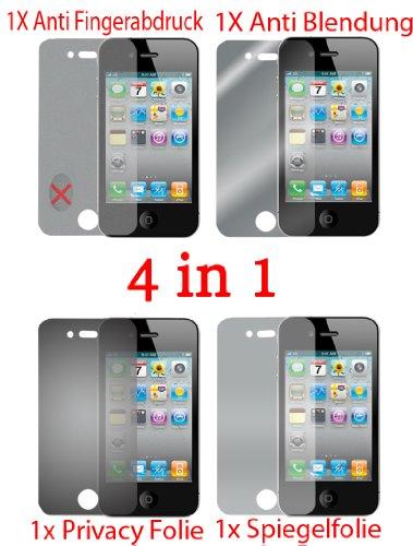 Pellicola protettiva per Apple Iphone 4 4S 4G (4 pezzi) - pellicola trasparente di protezione frontale. Specchio, trasparente, anti impronta digitale, privacy