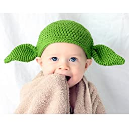 Milk protein cotton yarn handmade baby Yoda hat - fits 1 to 3 year old