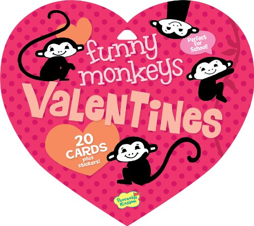 Peaceable Kingdom / Valentine Heart Pack Funny Monkeys Valentine Cards & Stickers front-715406
