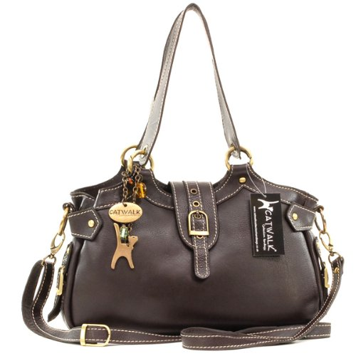 Catwalk Collection Leather Nicole Bag - Brown