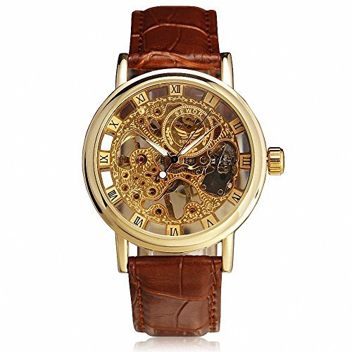 SEWOR Men's Retro Elegant Mechanical Wrist Watch Leather Strap Three Hands Roman Number Transparent Dial Skeleton Concise +Box (Roman Number Dial Watch compare prices)