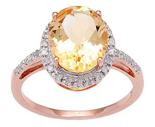 10k Rose Gold 3ct Oval Citrine and Diamond Ring