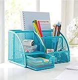 PAG Steel Mesh Desk Organizer,office Organizer Supplies ,Pen Holder?6-part Blue?
