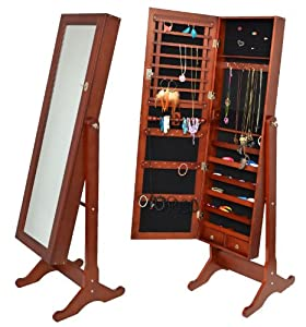 Armoire à bijoux avec miroir 148 cm marron