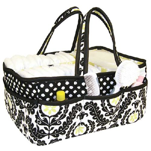 Trend Lab Waverly Rise and Shine Diaper Caddy, Black/White