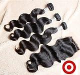 Junhair 4Pcs/lot Virgin Peruvian Remy Human Hair 3 Bundles Hair Extension Mixed Length With 1Pc 4x4 Closure Body Wave Natural Color