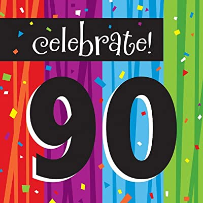 Creative Converting Milestone Celebrations Luncheon Napkins, Celebrate 90