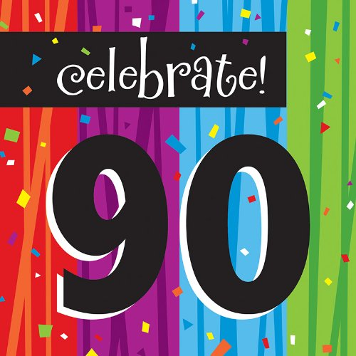 Creative Converting Milestone Celebrations Luncheon Napkins, 16-Count, Celebrate 90