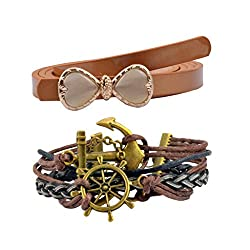 Diovanni Combo of Brown Color Bracelet and Belt For Womens