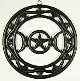 Wall Plaque Black Wood Pagan Moon Pentagram Symbol 12 Inch
