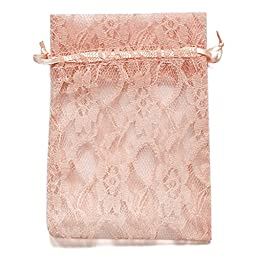 Ling\'s moment Pack of 50 Lace Organza Drawstring Gift Bag Pouch Wrap for Party/Game/Wedding (Blush Pink)