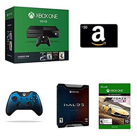 Xbox One 500GB Console - Name Your Game Bundle + $50 Amazon Gift Card [Physical Card] + Halo 5: Guardians - Limited Edition [Physical Disc] + Xbox One Special Edition Dusk Shadow Wireless Controller + Forza Horizon 2 [Emailed Digital Code]