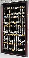 60 Spoon Rack Display Case Holder Cabinet Real Glass Door