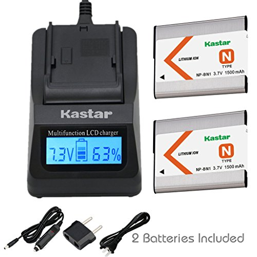 Kastar Ultra Fast Charger(3X faster) Kit and Battery (2-Pack) for NP-BN1, BC-CSN work with Sony Cyber-shot DSC-QX10,DSC-QX100,DSC-T99,DSC-T110,DSC-TF1,DSC-TX5,TX7,TX9,DSC-TX10,DSC-TX20,DSC-TX30,DSC-TX55,DSC-TX66,DSC-TX100V,DSC-TX200V,DSC-W310,W320,W330,W350,W360,W380,W390,DSC-W510,DSC-W515PS,DSC-W520,DSC-W530,DSC-W550,DSC-W560,DSC-W570,DSC-W580,DSC-W610,DSC-W620,DSC-W650,DSC-W690,DSC-W710,DSC-W730,DSC-W810,DSC-W830,DSC-WX5,DSC-WX7,DSC-WX9,DSC-WX30,DSC-WX50,DSC-WX70,DSC-WX80,DSC-WX150,DSC-WX220