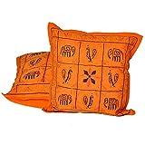 Ufc Mart Colorful Zari Embroidery Cushion Cover 2pc. Set, Color: Orange, #Ufc00499