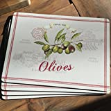 Olive Garden Premium Placemats, Antique Look, Cork Backed, Set of 4, 16 X 11 1/4 Inches, By Whole House Worlds
