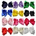 "QtGirl Large Hair Bows 12 Pieces 8"" Solid Color Big Hair Clips for Women Girls"