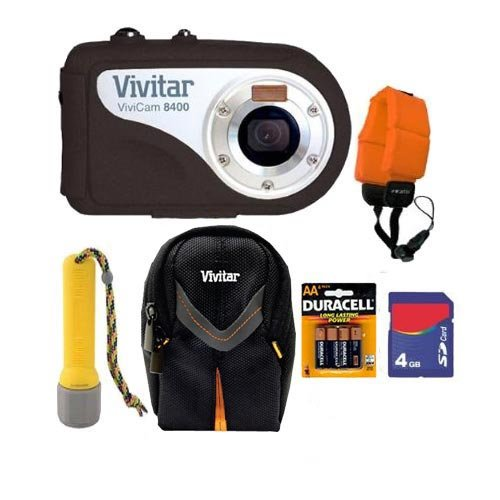 Vivitar Vivcam V8400 8.1MP 8X Digital Zoom Underwater Digital Camera Black with 4GB Accessory Bundle
