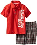 Calvin Klein Boys 2-7 Polo Shirt With Plaided Short