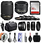 Beginners Accessories Package with AF-S DX VR 55-200mm f/4-5.6G IF-ED Lens + 50mm f/1.8G for Nikon DF D7200 D7100 D7000 D5500 D5300 D5200 D5100 D5000 D3300 D3200 D3100 D3000 D300S D90 D60 DSLR SLR Digital Camera includes 32GB Memory + Card Reader + Large Padded Case + 5 Piece Filter Kit + 2.2x Telephoto Lens + 0.43x Wide Angle Lens + Extra Lens Cap + Dust Cleaning Kit + $50 Gift Card for Prints
