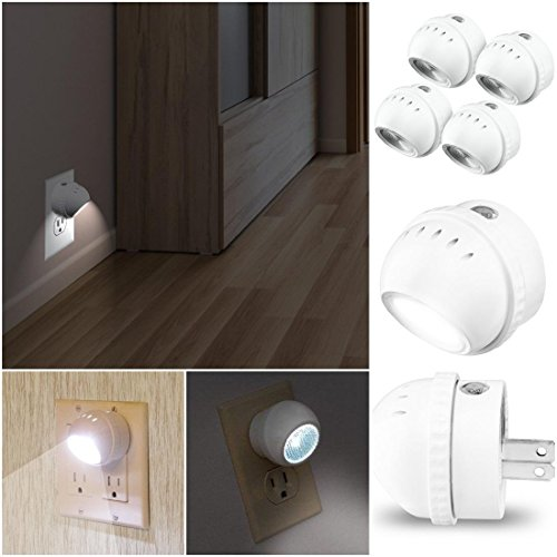 Pack of 4 Impassioned Modern LED Nightlight No Bulbs Rotates 360 Degrees Auto Sensor Color White with US Plug