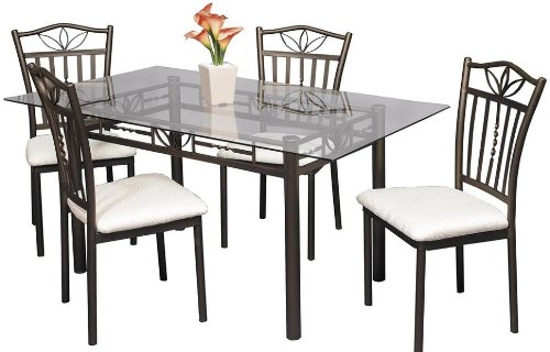 Cheap Gardenia Rectangular Glass Top Dining Table by Home Line Furniture (B003NGDBXQ)