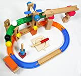 Kiumibaby トラック・プロペラ 玉転がし 積み木転がし ビー玉積み木転がし 木のおもちゃ パーツ46点