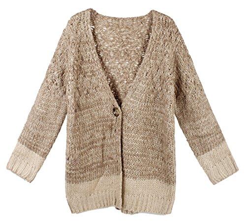 Ecool Women'S Long Sleeve Crew Neck Cardigan Sweater Grey One Size