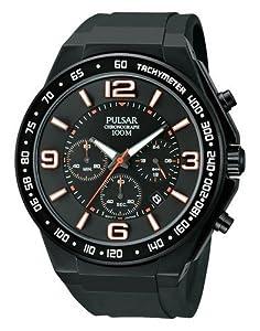 Pulsar PT3403 Black & Rose Gold Rubber Strap Men's Watch