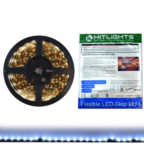 Hitlights Cool White Smd3528 Led Light Strip - 300 Leds, 16.4 Ft Roll, Cut To Length - 6000K, 72 Lumens Per Foot, Requires 12V Dc