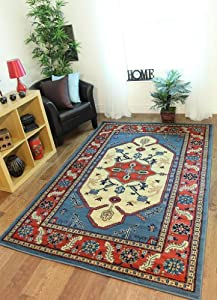 "Cornflower Blue Beige Indian Style Lounge Mat Navaro 8831- 60 cm x 110 cm (2' x 3'7"")"