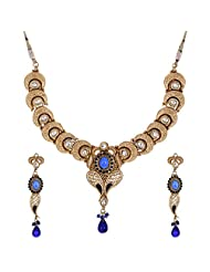Shahenaz Jewellers 24 Ct Gold Plated Bridal Jewellery Set With CZ And Marquis Stones For Women
