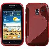 PhoneNatic Samsung Galaxy Ace 2 Hülle Silikon rot S-Style Case Galaxy Ace 2 Tasche + 2 Schutzfolien