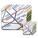 Close Up Tube Map Leicester Square, London Set of 4 Premium Glossy Wooden Placemat & Coasters